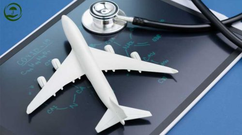 Coronavirus, travel insurance, aircraft, stethoscope